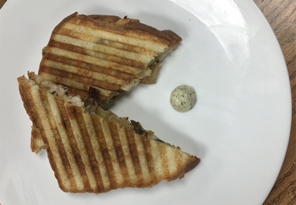 Winning Sandwich called Princess Panini, consisted of grilled chicken, sauted onions and green pepper, mozzerella cheese, white bread and basil aoili. Made by Courtney Calhoon, Jordan White, Elyssa Taylor, Emilio Shumate, and Remy Tran