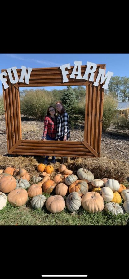 On October 14, 2019 sophomore Kayleonah Trumble and junior Lindsey Dunaway pose for a picture at Fun Farm pumpkin patch in Kearney.