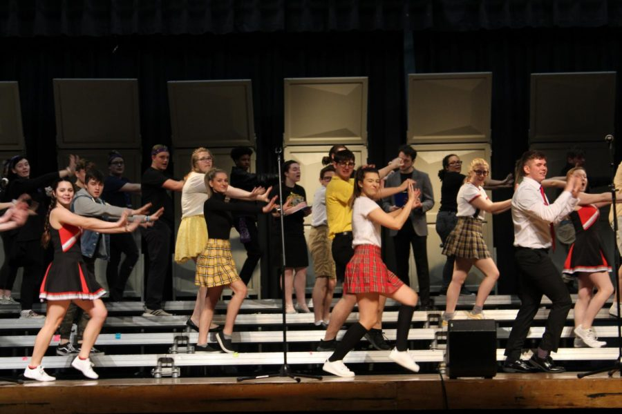 """Oak Street Singers danced to their opening number """"Rise"""" by Jonas Blue, during a dress rehearsal a week from their first competition."""